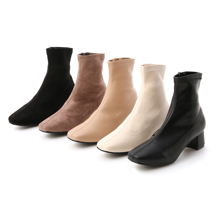 D+AF 秋冬定番.素面合腿中跟方頭襪靴 5色