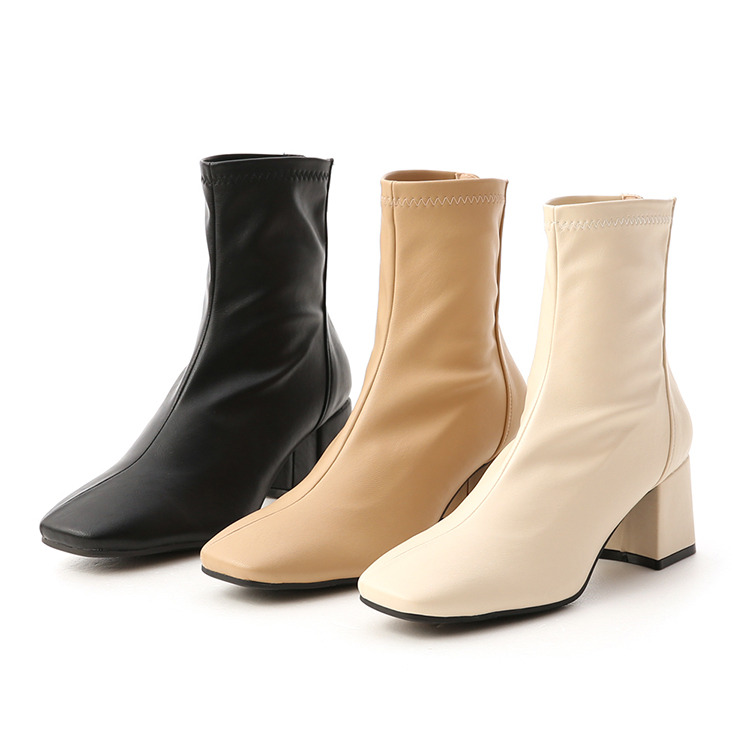 D+AF 素面斜線方頭高跟襪靴 高跟靴