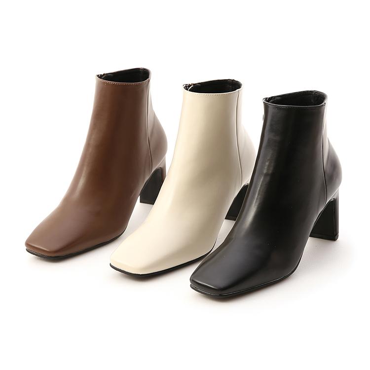 D+AF復古方頭美型高跟短靴 高跟靴穿搭