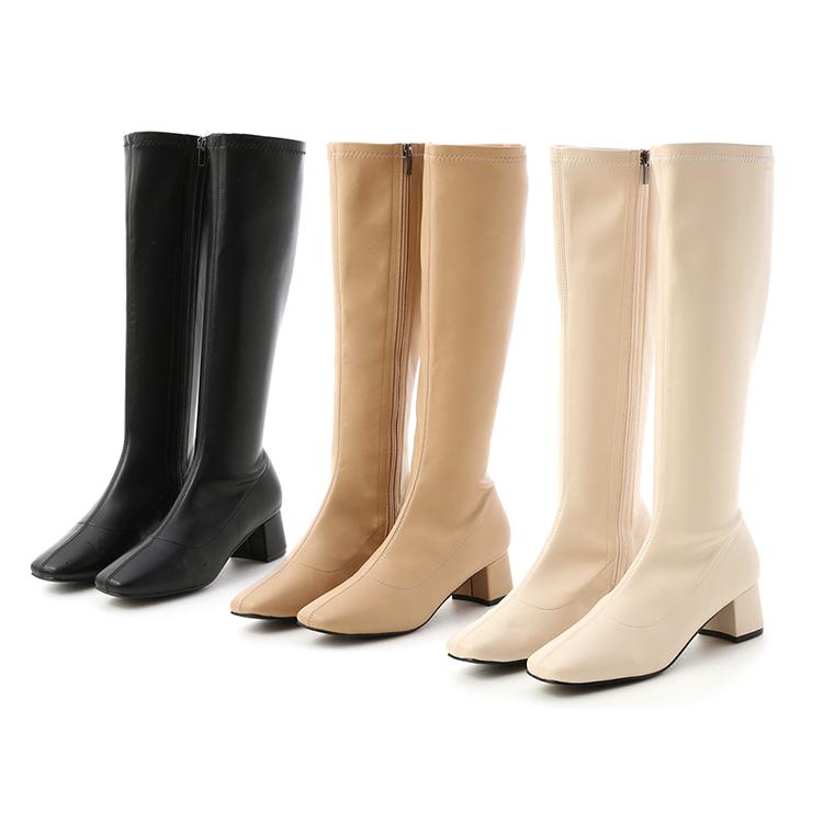 D+AF 素面中車線合腿長靴 高跟靴穿搭