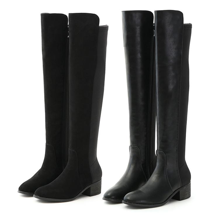 D+AF 彈力布拼接低跟膝上長靴 高跟靴穿搭