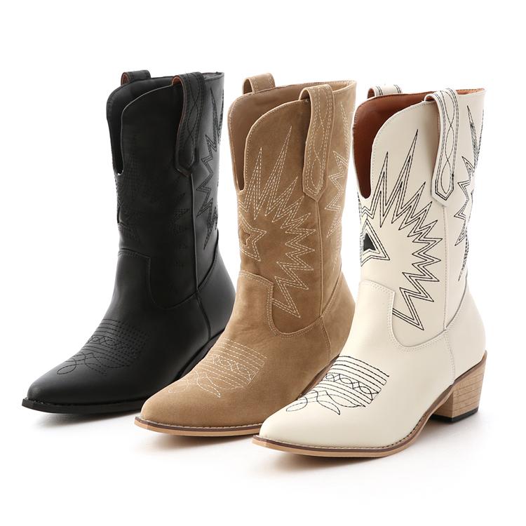 D+AF 中筒靴穿搭 V口牛仔靴 刺繡中筒牛仔靴