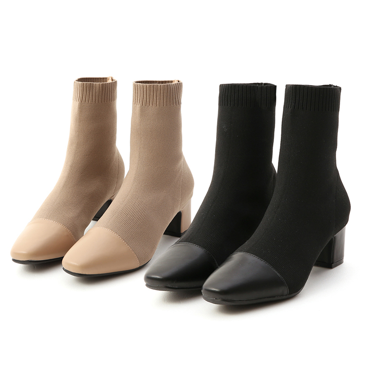 D+AF 中筒靴穿搭 針織中筒襪靴 拼接中筒襪靴