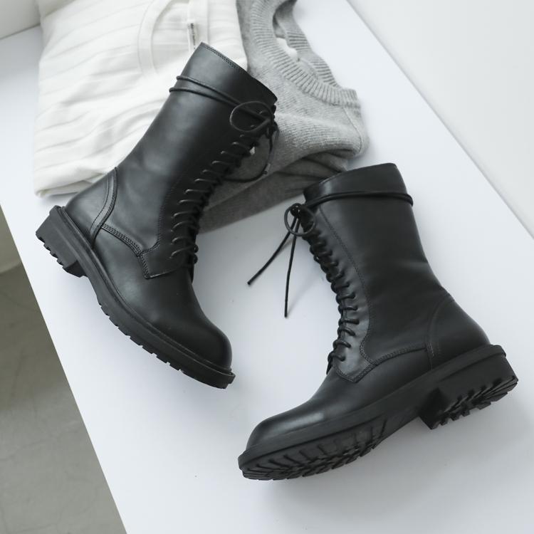 D+AF 中筒靴穿搭 中筒馬汀靴 綁帶馬汀靴
