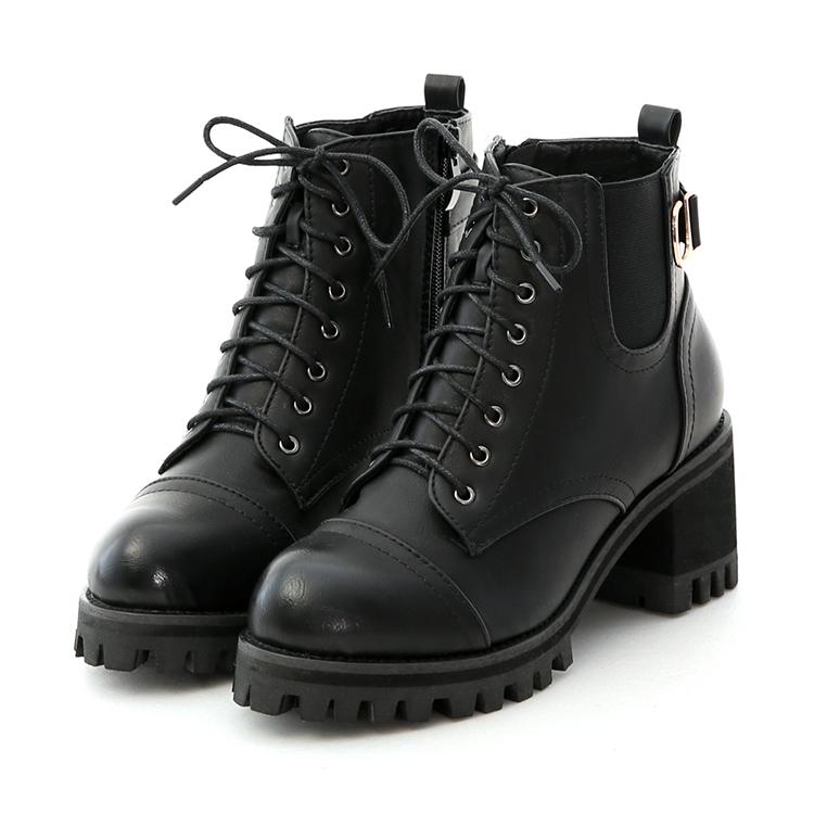 D+AF個性綁帶高跟厚底短靴 軍靴