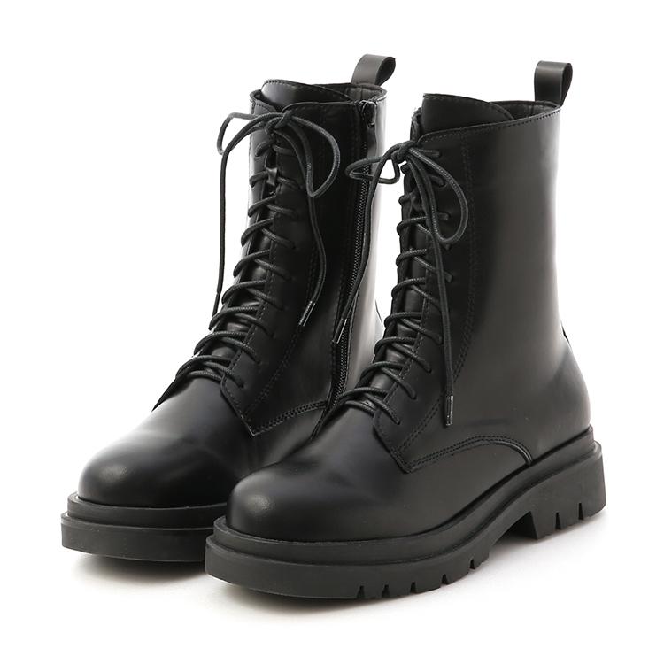 D+AF鬆糕底綁帶中筒馬汀靴 軍靴