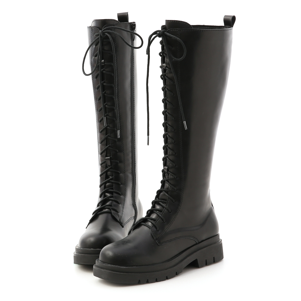 鬆糕底綁帶馬汀長靴 厚底靴 馬汀靴