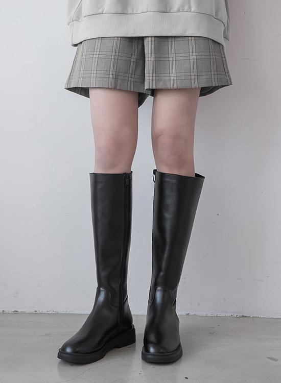 D+AF素面剪裁筆挺膝下長靴 厚底靴