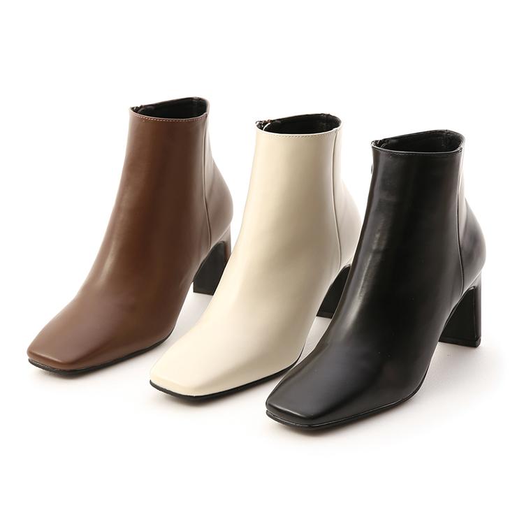 美型方頭短靴 奶油咖 人氣白 時尚黑