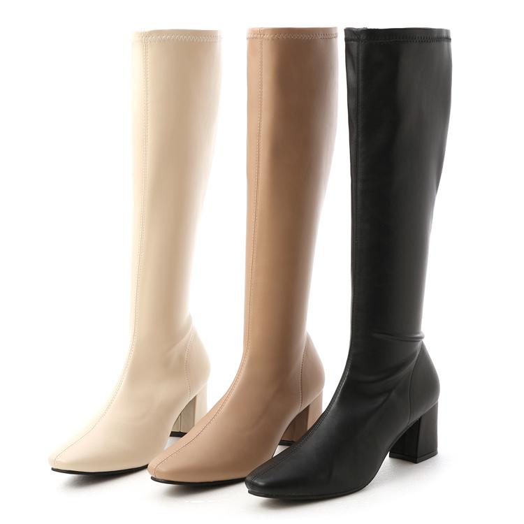 方頭美腿長靴 膝下長靴 素面車線高跟長靴