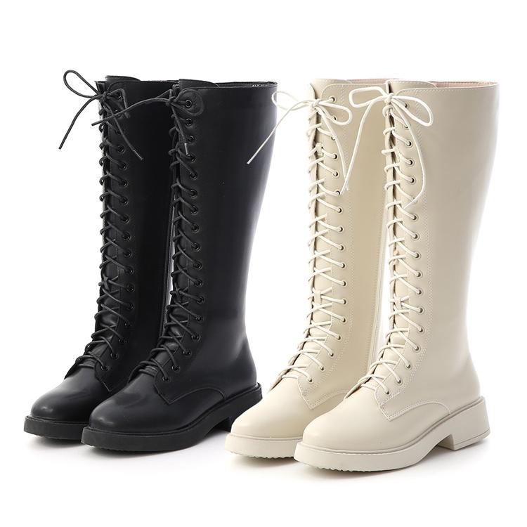 玩酷魅力.加厚底綁帶馬汀長靴 白色長靴 黑色長靴