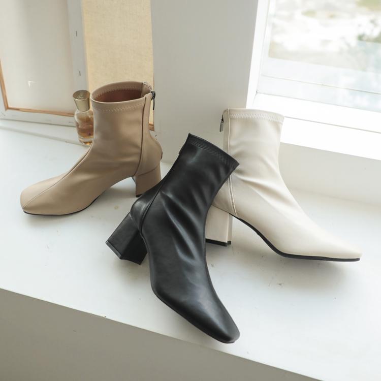 顯瘦襪靴 素面車線襪靴 奶茶靴 經典黑靴 時髦白靴