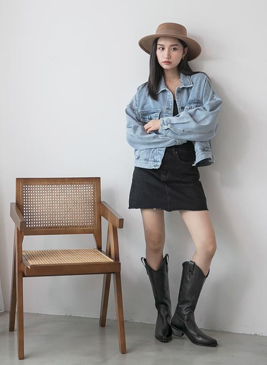 D+AF火焰刺繡V口牛仔靴 西部靴穿搭 女