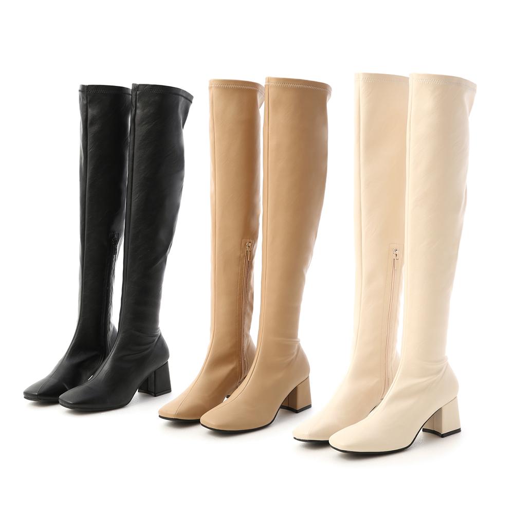 D+AF素面斜線方頭膝上長靴 長靴