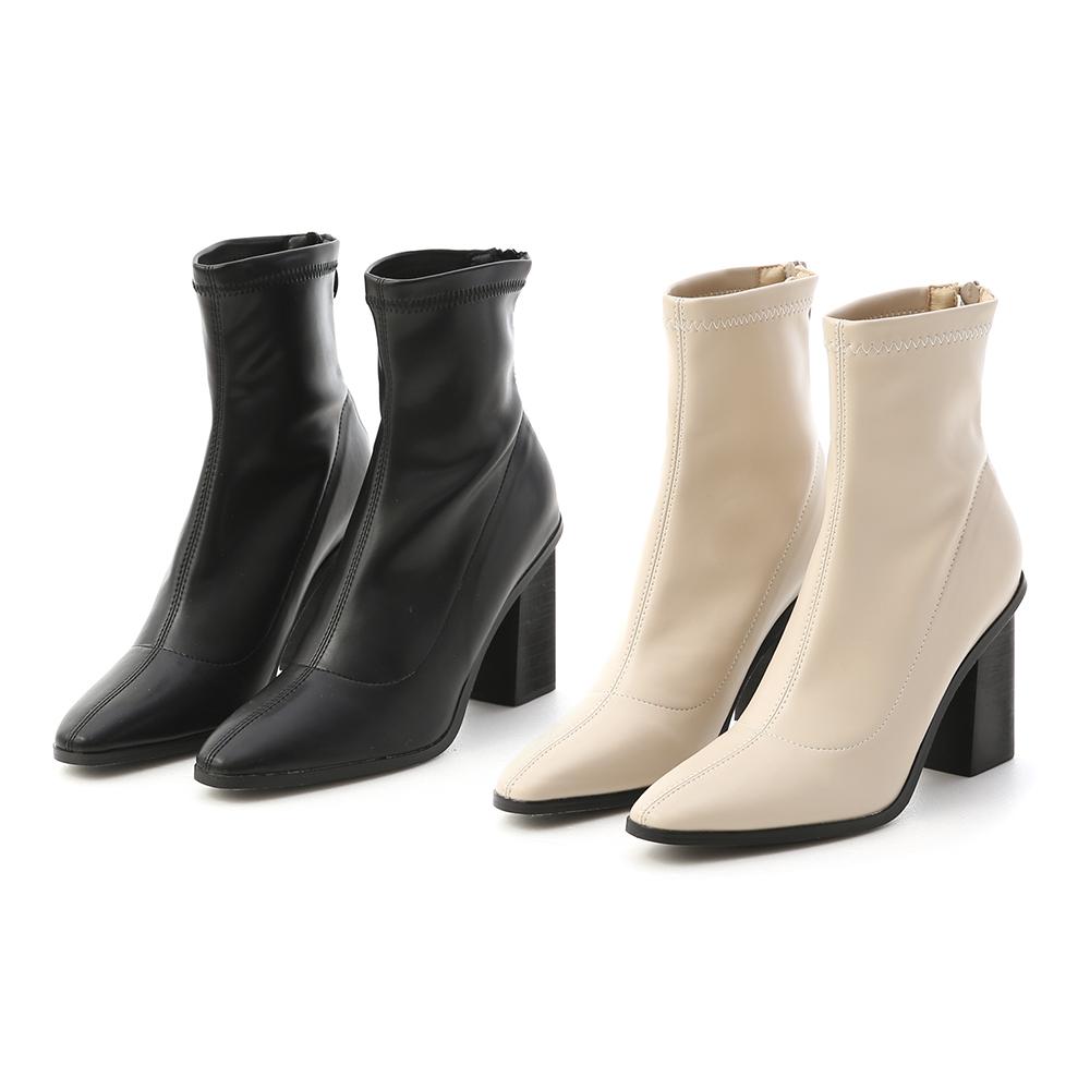 D+AF素面尖頭黑木跟襪靴 襪靴
