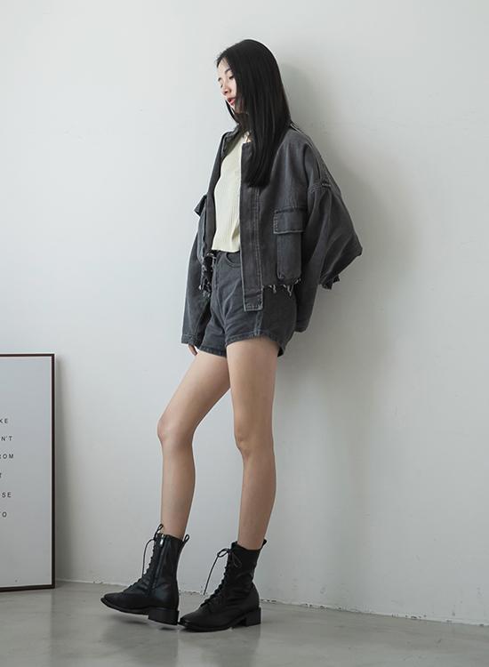 D+AF復古方頭低跟綁帶短靴 綁帶靴穿搭 女