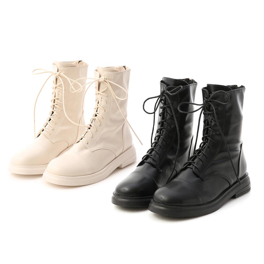 D+AF超軟皮革綁帶中筒靴 綁帶靴