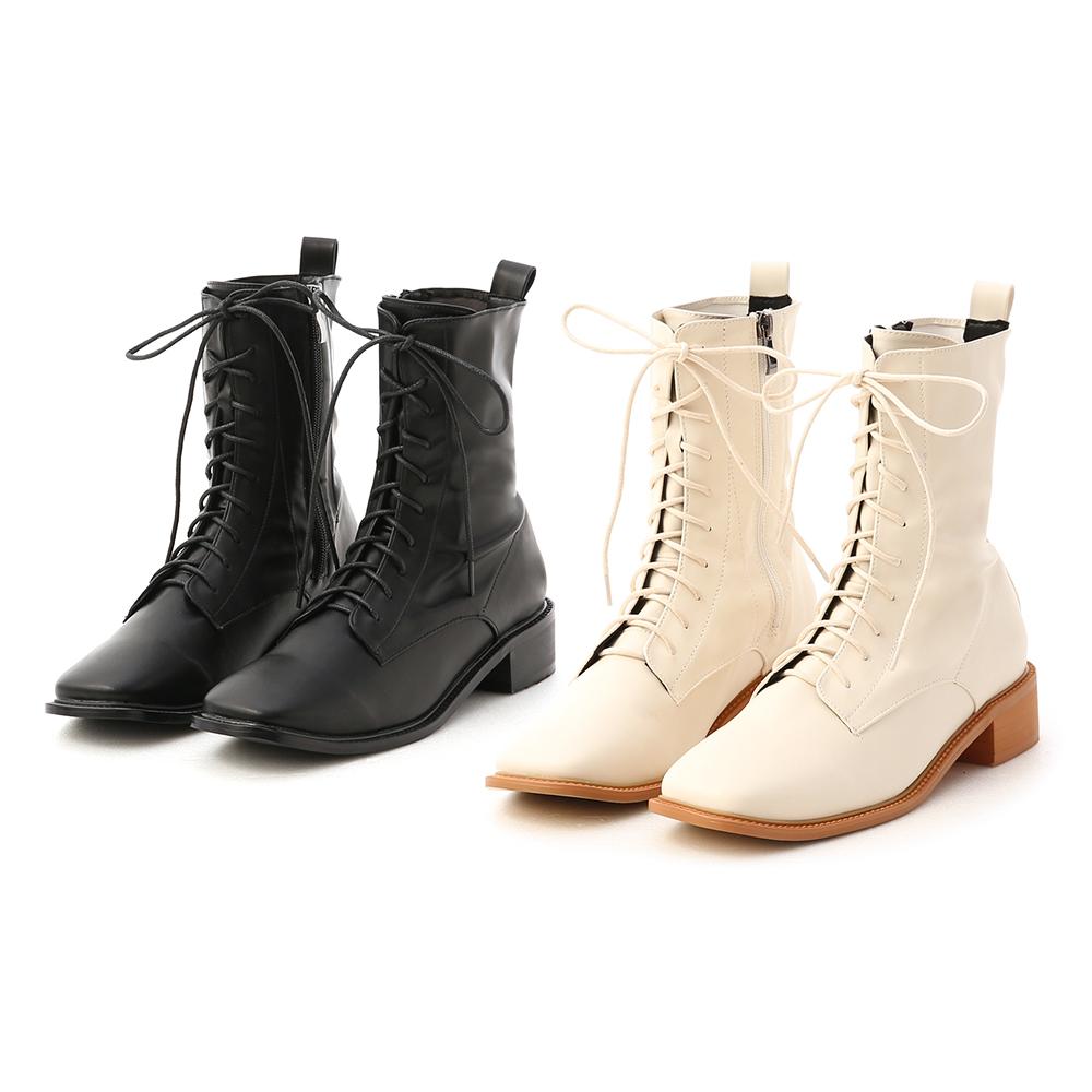 D+AF復古方頭低跟綁帶短靴 綁帶靴