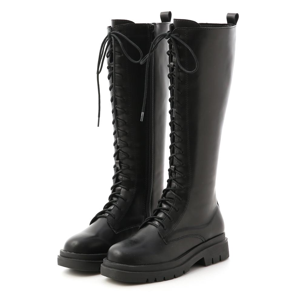 D+AF鬆糕底綁帶馬汀長靴 綁帶靴