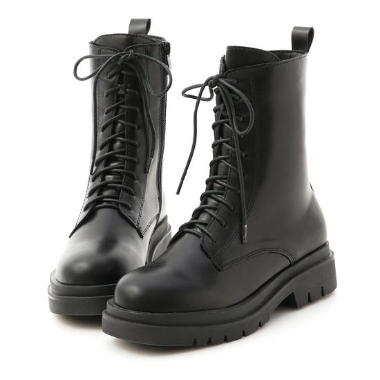 鬆糕底綁帶中筒馬汀靴 黑色馬丁靴