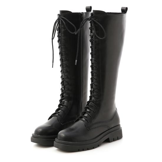 鬆糕底綁帶馬汀長靴 黑色長靴 黑色綁帶長靴 膝下靴