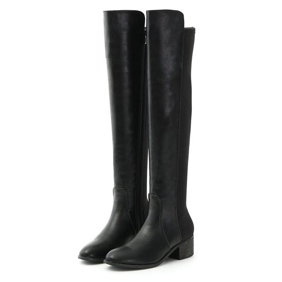 彈力布拼接低跟膝上長靴 黑色長靴 黑色膝上靴