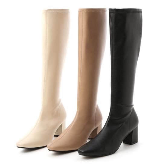 膝下靴 高跟長靴 米白色長靴 黑色長靴 奶茶杏長靴