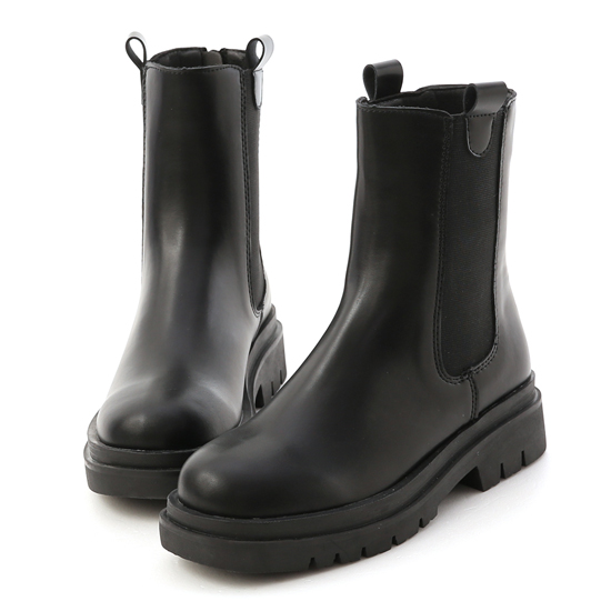 加厚鞋底切爾西短靴 黑色切爾西靴