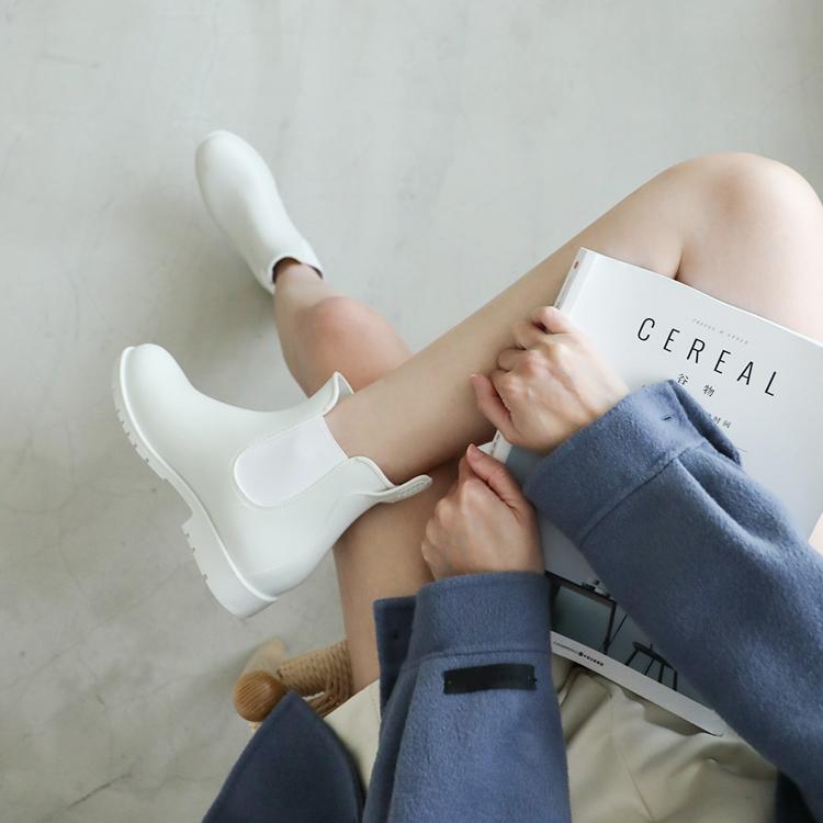 側鬆緊切爾西短雨靴 白色雨靴 切爾西靴