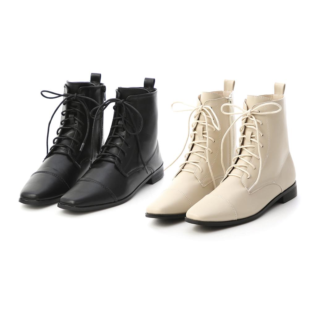 D+AF小方頭綁帶短靴 綁帶靴
