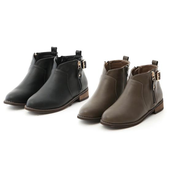 小腿粗V口短靴推薦 小V口側拉鍊平底短靴