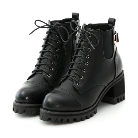 肉肉腿短靴推薦 腿粗V口短靴推薦 個性綁帶高跟厚底短靴 黑色短靴 女