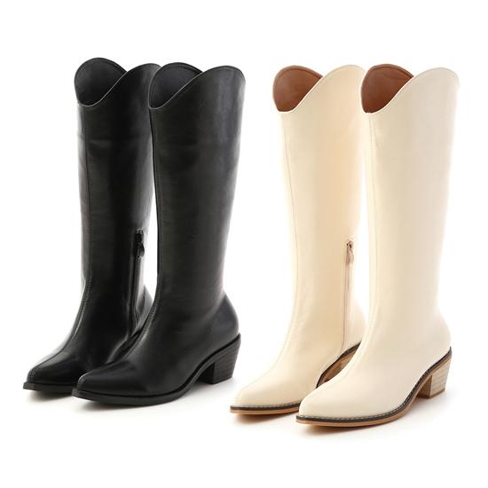 大V口素面牛仔長靴 牛仔靴 V口長靴 顯瘦長靴推薦 小腿粗長靴穿搭推薦