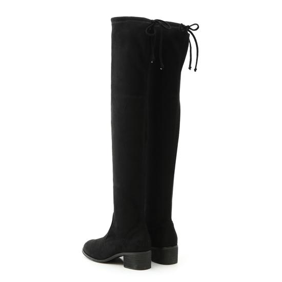 顯瘦感絨料低跟膝上長靴 顯瘦膝上靴推薦 黑色長靴