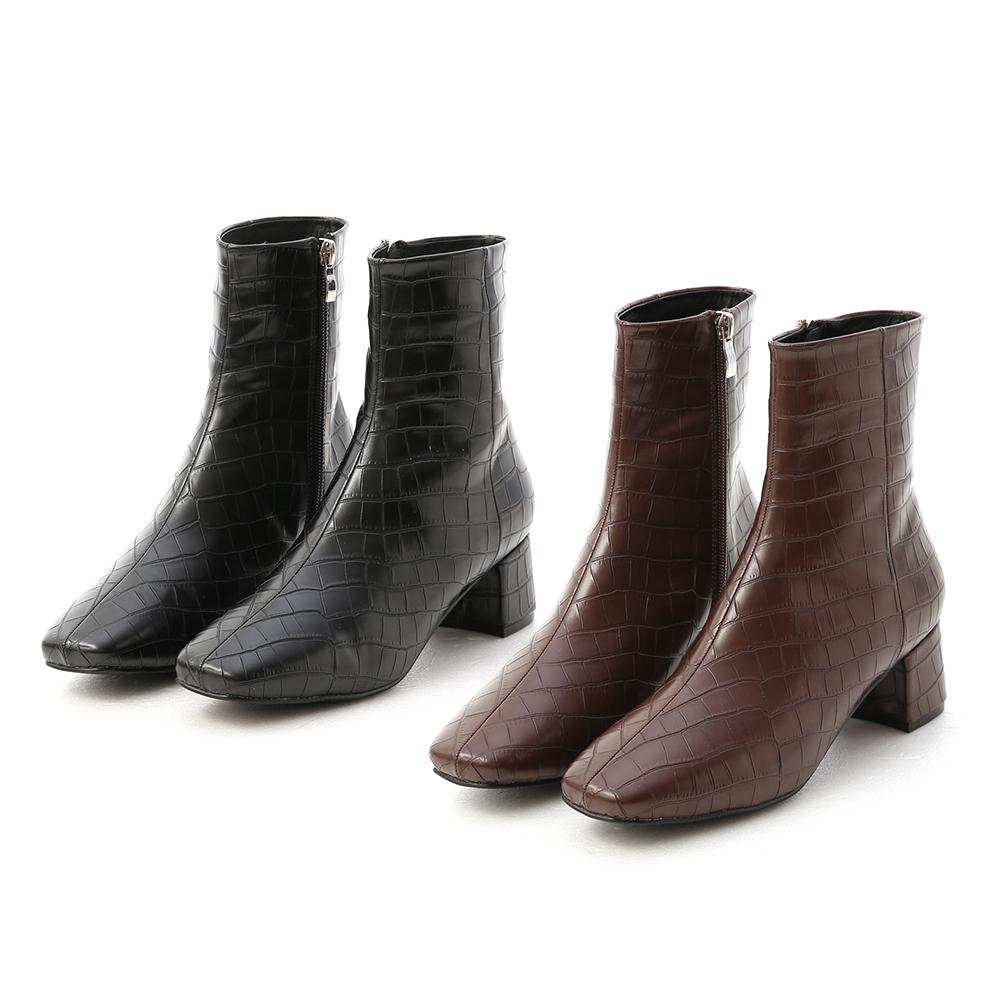 D+AF質感壓紋方頭中跟短靴 短靴