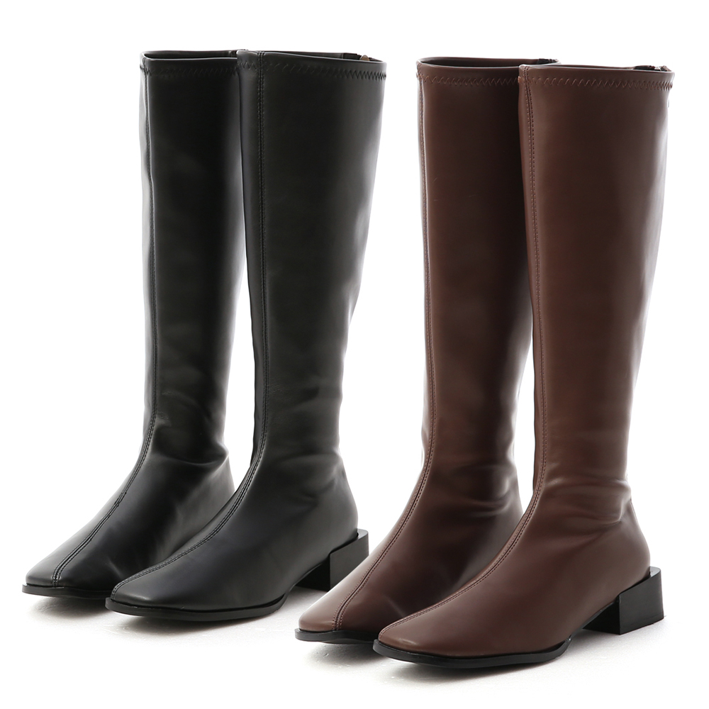 D+AF斜方頭積木跟膝下長靴 長靴 膝下靴