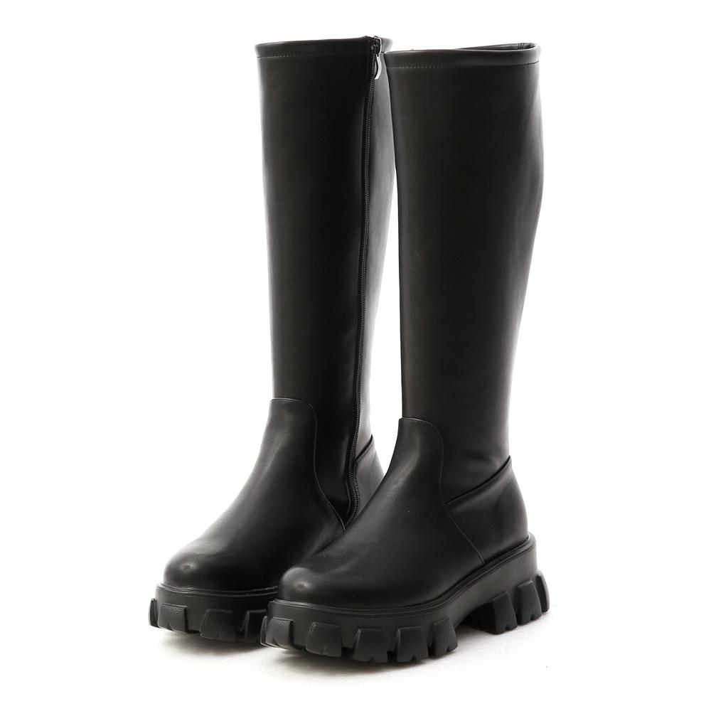 D+AF素面鋸齒底膝下長靴 長靴