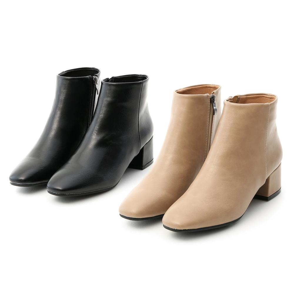 D+AF極簡素面方頭低跟短靴 短靴