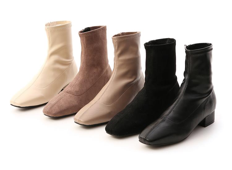 素面車線方頭低跟襪靴