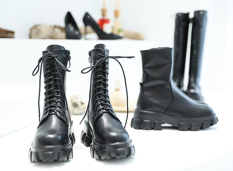 D+AF超輕量綁帶鋸齒靴 門市鬼鬼 吳映潔 推薦 暗黑系列 黑色靴款
