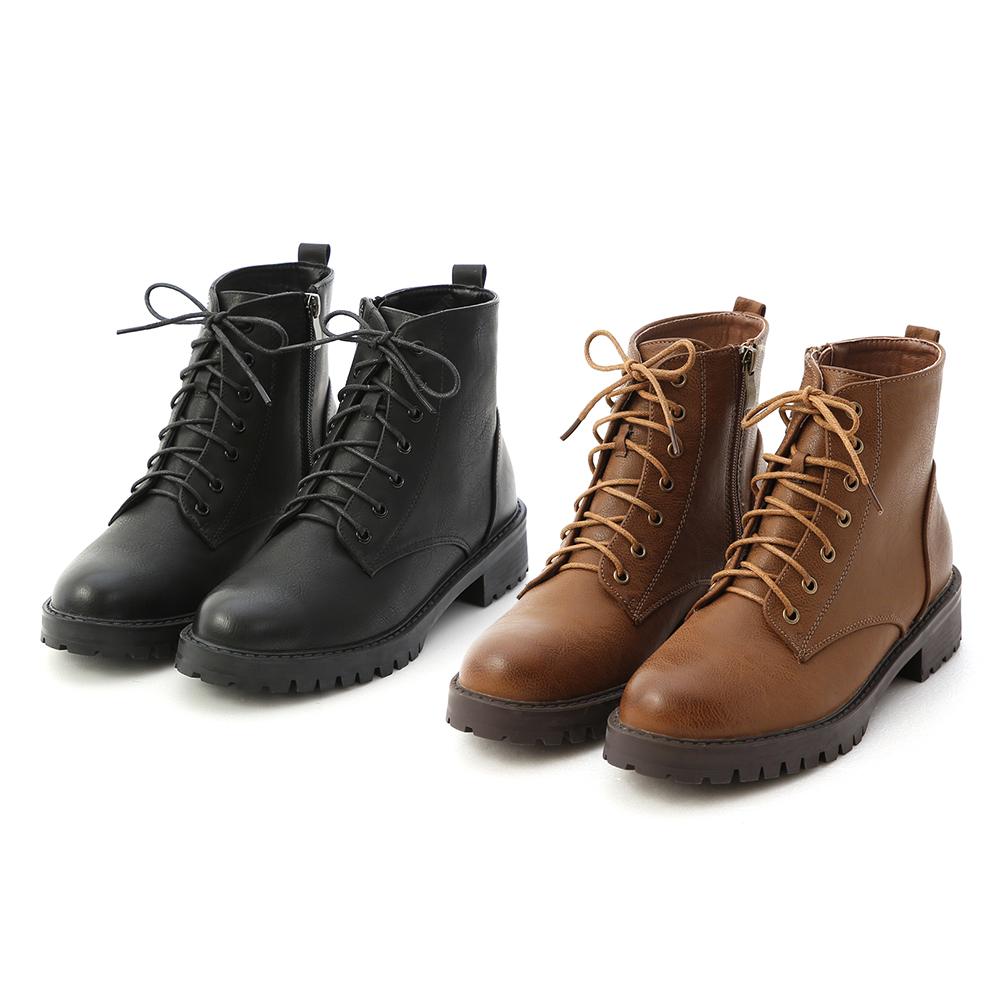 仿舊感擦色綁帶軍風短靴 馬甲靴 綁帶靴