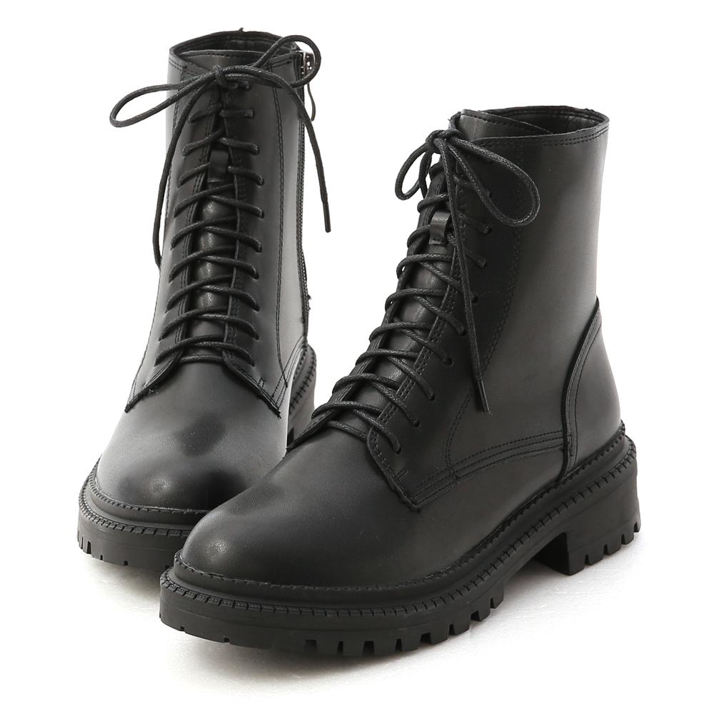 D+AF 厚底綁帶馬汀短靴 馬甲靴 黑色綁帶靴