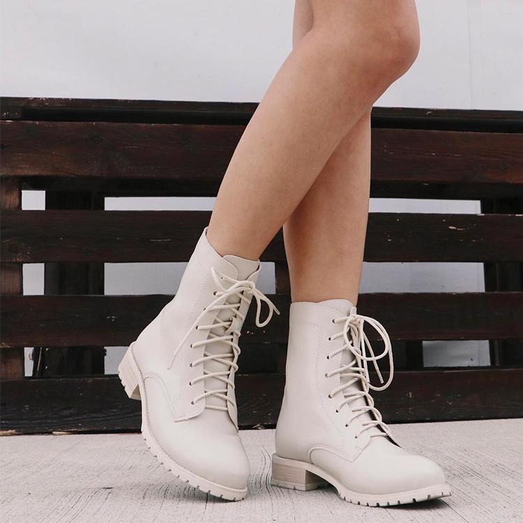 後拉鍊綁帶中筒馬汀靴 馬甲靴 綁帶靴