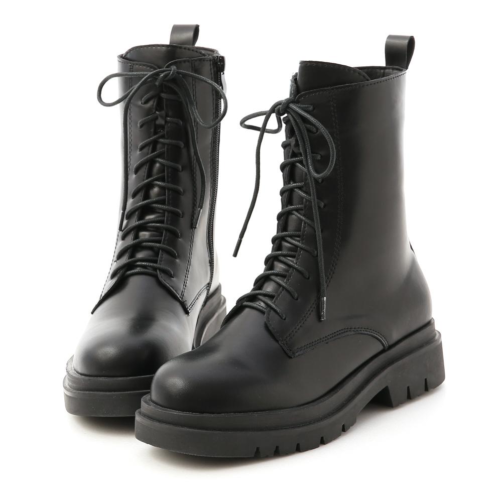 鬆糕底綁帶中筒馬汀靴 馬甲靴