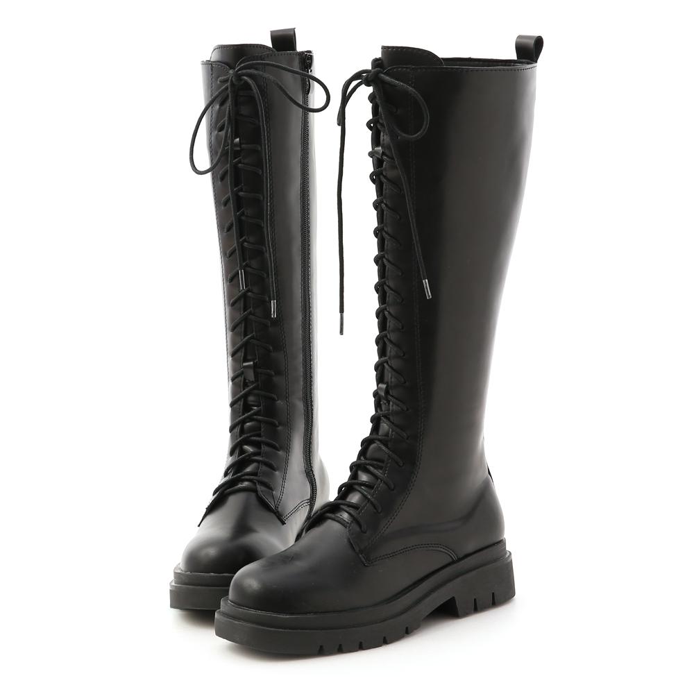 鬆糕底綁帶馬汀長靴 綁帶靴 馬甲靴
