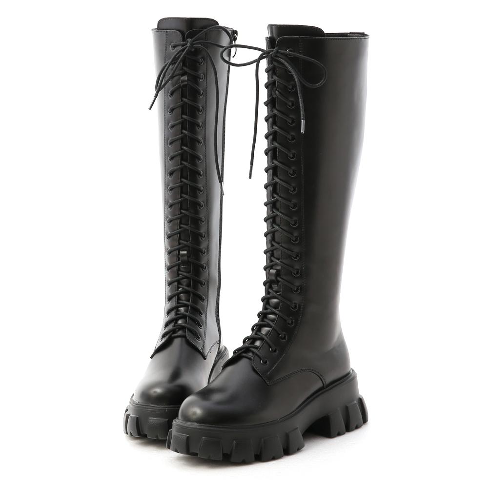 D+AF鋸齒底綁帶馬汀長靴 黑色馬甲靴