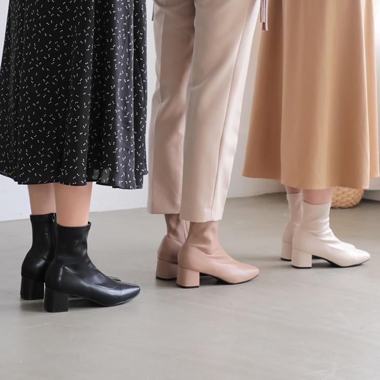 D+AF 素面合腿中跟襪靴 秋冬必備襪靴 秋冬定番  過年春節走春穿搭鞋款推薦