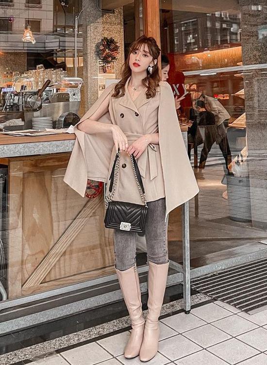 D+AF 小安奶茶色系穿搭 貴氣質感風 冬氛好感 逆天長靴 過年春節走春穿搭鞋款推薦