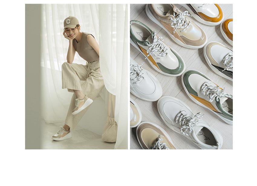 D+AF x 逸歡Clina聯名系列 撞色漆皮厚底老爹鞋 白/米/杏/棕/綠