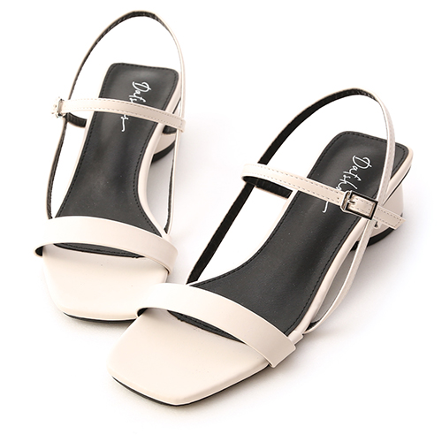 韓系時尚.一字方頭橢圓跟涼鞋